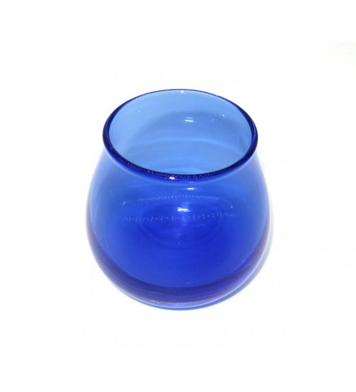Bicchiere assaggia olio blu vetro soffiato con coperchio