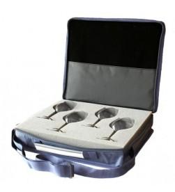 Premium Wine tasting Set, 1 Carrying Case, 4 premium glasses