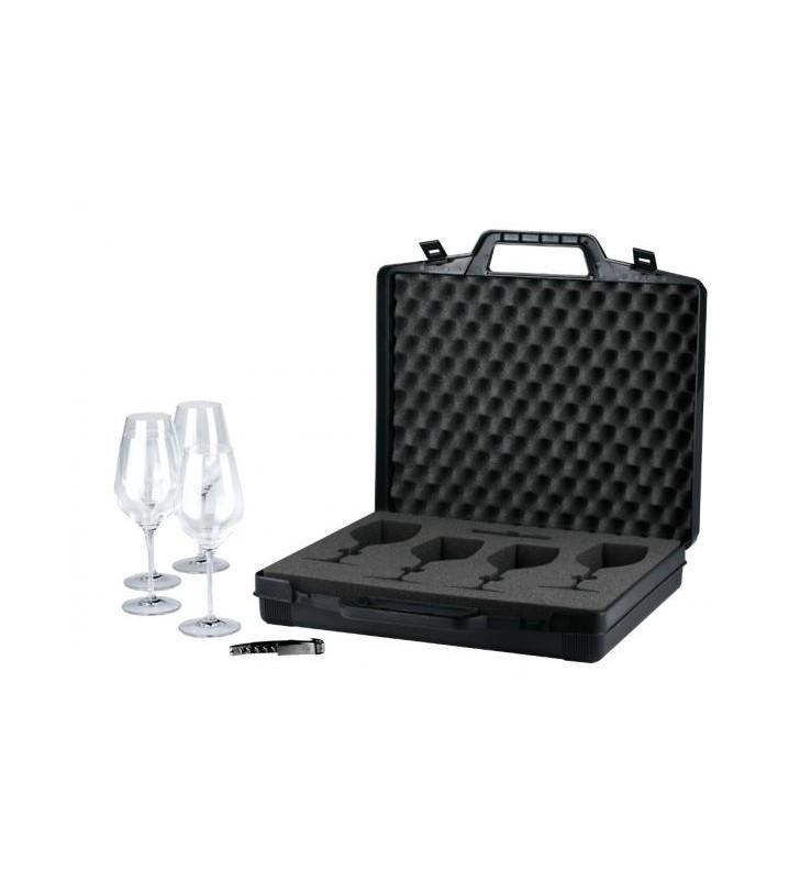 Valise pour la dégustation de vin, 1 valise, 4 verres Riedel, 1 tire-bouchon