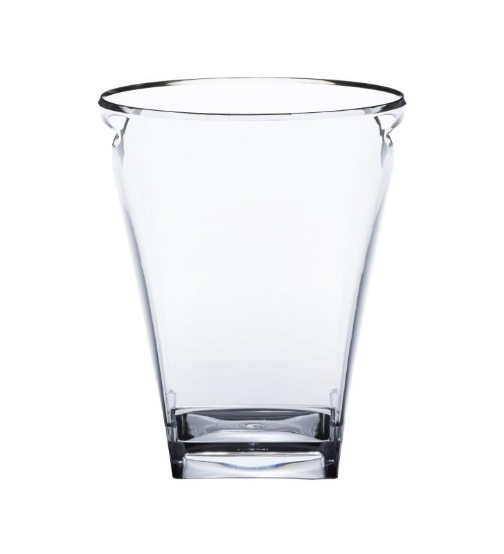 Square plexiglas glacette, 1 bottle, Clear