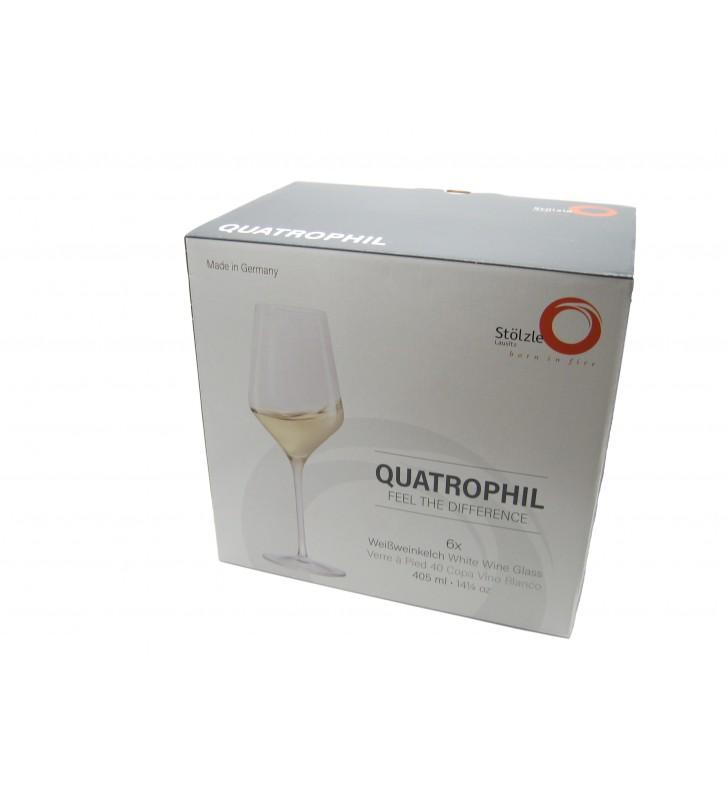 Verres à vin blanc Quatrophil 40,5 cl, Cristal, Stolzle, 6 pièces