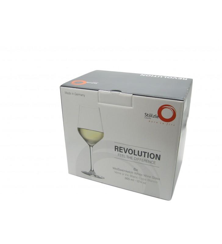 Verres à vin blanc Revolution Cl 36,5, Cristal, Stolzle, 6 pièces