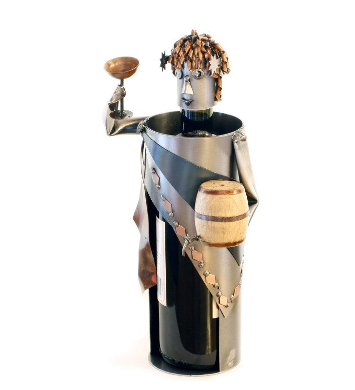 Porta bottiglia vino Bacco, in metallo
