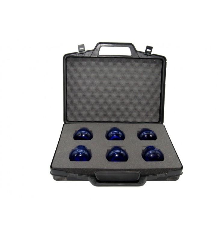 Set Olive oil tasting, 1 carrying case, 6 COI cobalt blue glasses