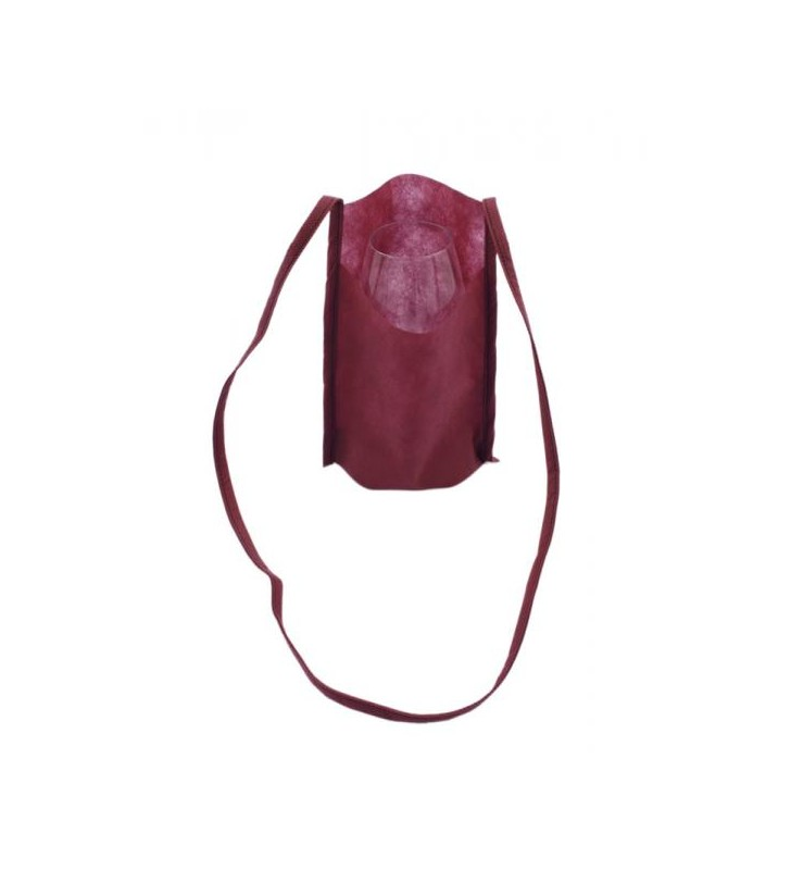 Sacs porte-verres INAO en tissus non tissé bordeaux, neutre, 10 pièces