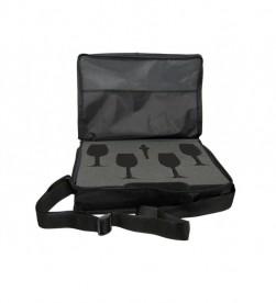 Valigetta sommelier tracolla in tessuto, nero, per 4 Calici ISO, 1 cavatappi (vuota)