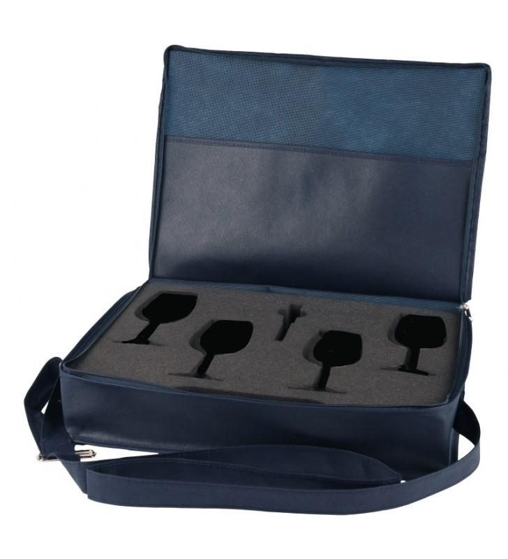 Borsa porta calici a tracolla in tnt per 4 Calici ISO, 1 cavatappi (vuoto)